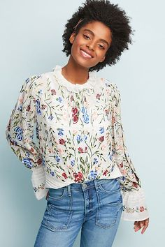 bd160d60ae84 Slide View: 1: Fally Embroidered Blouse Embroidered Blouse, Ruffle Blouse,  Boho Outfits. Anthropologie