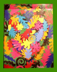 Raised heart.  Use hands of students traces and cut out.  For art hallway bulletin.   Original: Heart Of Henri Matisse Painting