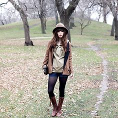 Brown Wool Hat, Camel Blazer, Dear Creatures Sailor Blouse, Topshop Jean Shorts, Black Tights, Http://Www.Jaglever.Com, Tods Brown Boots