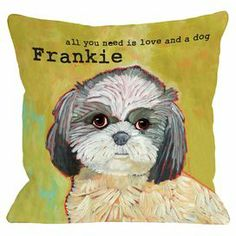 """Showcasing a shih tzu portrait and personalized typographic detailing, this graphic pillow pays homage to your favorite four-legged friend.    Product: PillowConstruction Material: Polyester cover and fiber fillColor: GreenFeatures:  Insert includedPersonalized with your pet's nameMade in the USA Dimensions: 18"""" x 18""""Cleaning and Care: Machine washable"""