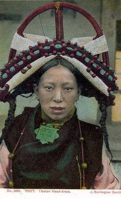 Tibetan Headdress, Postcard publisher J Burlington Smith, 1930s