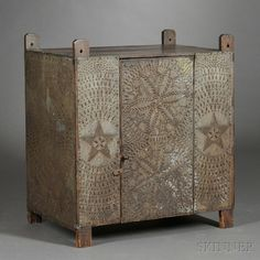 Pine and Painted Tin Pie Safe, second half 19th C, a very starry night feeling..