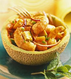 Chunks of cantaloupe and avocado are the perfect foil for the spicy shrimp and jalapeno pepper in this main-dish salad recipe.