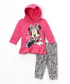 Look what I found on #zulily! Pink Zebra Minnie Sweatshirt & Leggings - Infant #zulilyfinds