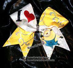 I Love Minions cheer bow $20 fb:bowbratzcheer Ig:bowbratzbowbratz