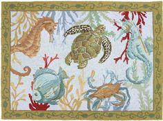 Sea Life Hooked Rug: Beach Decor, Coastal Decor, Nautical Decor, Tropical Decor, Luxury Beach Cottage Decor