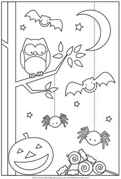 Fun Halloween Coloring Pages for Kids. They provide hours of at home fun for kids during the holiday season. Fun Halloween Coloring Pages for Kids. They provide hours of at home fun for kids during the holiday season. Theme Halloween, Halloween Crafts For Kids, Easy Halloween, Holidays Halloween, Fall Crafts, Halloween Decorations, Halloween Printable, Preschool Halloween, Easy Arts And Crafts