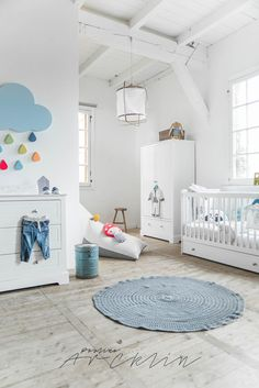 modern white baby nursery