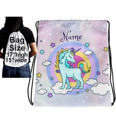 Personalized Unicorn Drawstring Back Pack, Unicorn Drawstring Backpack, Unicorn Back Pack, Blue & Gold Unicorn on Purple Drawstring Backpack by UnicornGiftsFor on Etsy Backpack Bags, Drawstring Backpack, Blue Gold, Purple, Unicorns, Printing On Fabric, Backpacks, Sewing, Trending Outfits