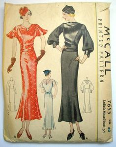 Vintage 1930s McCall's Sewing Pattern 7655