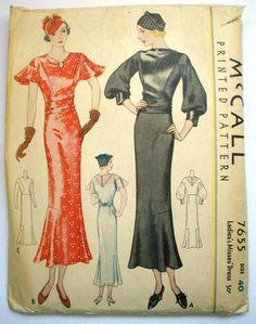 McCall 7655 | 1930s Dress