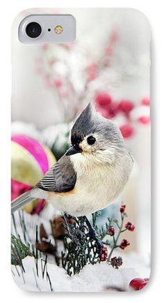 Cute Winter Bird - Tufted Titmouse Phone Case by Christina Rollo