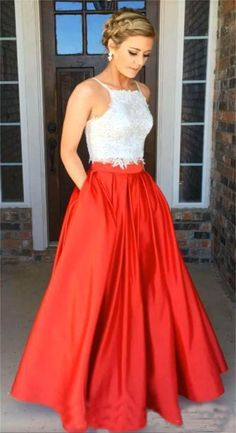 c02d2387c98 Two Piece Spaghetti Straps Dark Green Stretch Satin Prom Dress Grad Dresses