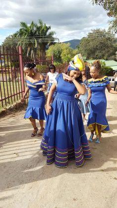 sotho shweshwe dresses for African women - fashion ShweShwe 1 Pedi Traditional Attire, Sepedi Traditional Dresses, African Traditional Wedding Dress, African Fashion Traditional, South African Dresses, African Dresses For Kids, African Wear Dresses, African Attire, Xhosa Attire