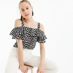 Crew for the Collection silk cold-shoulder top in Ratti® polka dot for Women. Find the best selection of Women Shirts & Tops available in-stores and online. White Silk Blouse, White Sleeveless Blouse, Ruffle Top, Ruffle Blouse, Embellished Skirt, Cold Shoulder Shirt, Cashmere Sweaters, Navy And White, Clothes For Women