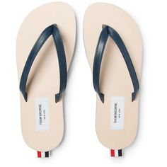 Thom Browne Leather Flip Flops (9 225 UAH) ❤ liked on Polyvore featuring men's fashion, men's shoes, men's sandals, men's flip flops, mens beach shoes, mens beach sandals, mens red leather shoes, mens lightweight running shoes and mens leather shoes