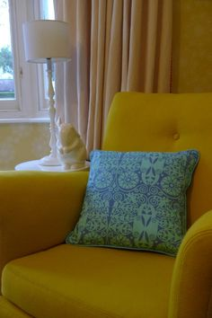 Handmade designer fabric cushion - blue - Folksy