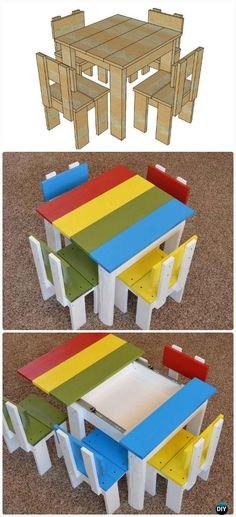 DIY Simple Kid's Table and Chair Set Free Plan Instructions - Back-To-School Kids #Furniture DIY Ideas Projects