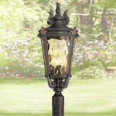 "28/"" H Bronze Hue Filagree Fleur Outdoor Indoor Hanging Wall Sconce 2 Set of"