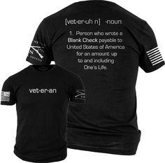 c2789186 Blank Check T-Shirt - Grunt Style Military Men's Black Graphic Veteran's Tee  Shirt Grunt