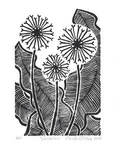 Linoleum Block Print - Dandelions - Limited Edition Original Print