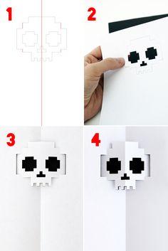 FREE printable DIY pop-up skull Halloween invitation // Mini-eco