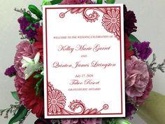 "Fold Over Wedding Program Template - Lace Wedding Program Booklet Burgundy ""Luna Lace"" Order of Service Half Fold Program Download (5x7 Cut) by PaintTheDayDesigns on Etsy"