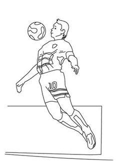 Figure à colorier d'un joueur de foot en train de jongler