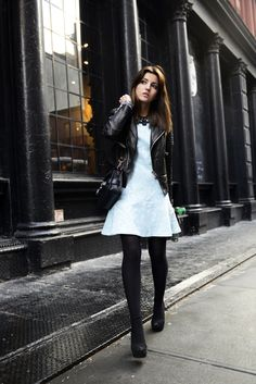white dress with black rock jacket and black tights - Lovely Pepa by Alexandra