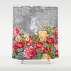 Best map of australia shower curtain vintage fabric map of world map with bold retro floral stunning floral shower curtainsretro gumiabroncs Gallery