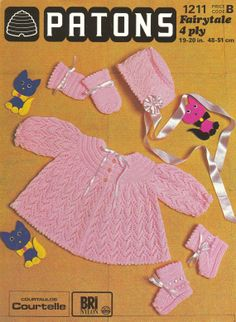 Patons  1211 baby lacy matinee coat and bonnet by Ellisadine, £1.00