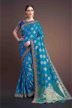 The Stylish And Elegant Saree In Blue Thread Work,Embroidery,Lace Work Colour Looks Stunning And Gorgeous With Trendy And Fashionable Thread Work,Embroidery,Lace Work . The Banarasi,Silk Party Wear S...