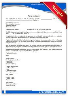 free printable rental application legal forms more rental forms ...