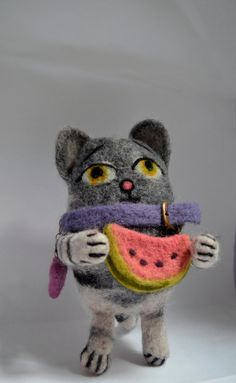 Cat Kitten who loves watermelon Needle felted cat by SandalFelt