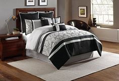 8 Piece Queen Blakely BlackGray Comforter Set -- See this great product.