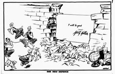 """This cartoon was produced by David Low, a bitter critic of Hitler and of Chamberlain's policy of appeasement. Low's cartoons have been used in many history textbooks and have shaped the way Chamberlain has been seen by later generations. How does the view of Chamberlain in this cartoon contrast with the view in the previous cartoon? Notes Notes: Chamberlain brought back home from Munich a paper signed by Hitler and himself affirming """"the desire of our two people never to go to war w"""