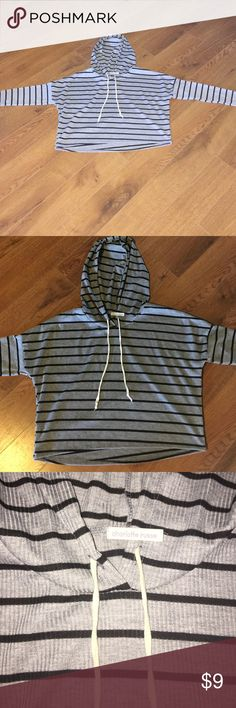 Long sleeve crop top. From Charlotte Russe. Great condition. Size medium. Striped grey and black. Charlotte Russe Tops Tees - Long Sleeve