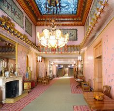 Interior of The Royal Pavilion, Brighton, East Sussex: The Long Gallery (after restoration)