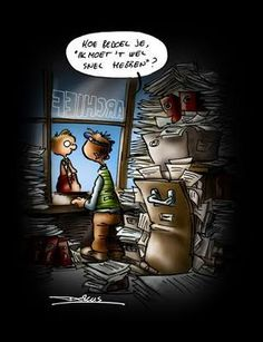 "Hoe bedoel je, ""ik moet 't wel snel hebben""? Library Books, Cartoons, Baseball Cards, Movie Posters, Fictional Characters, Animated Cartoons, Cartoon, Comic Book, Film Posters"