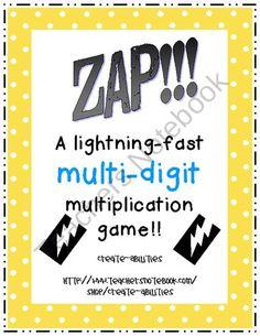 ZAP the multi-digit multiplication game. Multi Digit Multiplication, Multiplication Games, Maths, Math Worksheets, Math Activities, Fifth Grade Math, Fourth Grade, Math Coach, Math Classroom