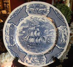 Vintage English Blue Transferware Plate Clipper Ship Scene Friendship of Salem