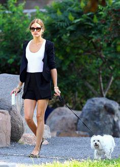 Olivia Palermo is spotted walking her dog Mr Butler in Brooklyn's Dumbo neighborhood.