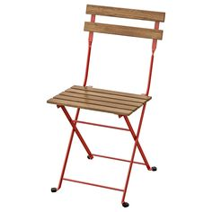 Foldable, durable and lovable with its mix of natural acacia hardwood and powder-coated steel. A perfect size for the balcony or in a cozy corner of the deck. Chair Pads, Chair Cushions, Garden Furniture, Outdoor Furniture, Ikea Family, Polypropylene Plastic, Outdoor Tables, Outdoor Cafe, Acacia Wood