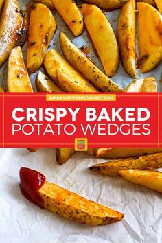 Baked crispy potato wedges are a food everyone loves! Soft on the inside and crispy outside, with a coating of simple seasoning, these baked potato wedges are a healthier choice than fries and just as tasty. #SundaySupper via @thesundaysupper Crispy Baked Potato Wedges, Easy Baked Potato, Roasted Potato Wedges, Potato Wedges Recipe, Crispy Potatoes, Twice Baked Potatoes, Bison Burger Recipe, Tasty Potato Recipes, Sweet Potato Casserole