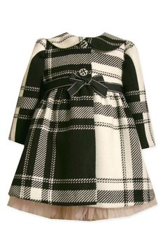 Plaid child's coat with bow and peter pan collar (want one in my size!)