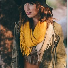 •fringe infinity scarf• Mustard olive and brown infinity scarf with tassel or fringe.  Material is 100% acrylic. Price is firm unless bundled. Accessories