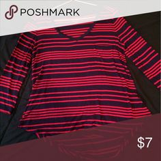 Flattering Navy and Red Striped Blouse This long-sleeve blouse is a perfect addition to compliment feminine curves. It is a light material, making it suitable wear for fall and spring seasons! The bottom of the shirt covers (mid)butt in the back, and meets the zipper of your jeans with ease at the front. Very nice length - can be dressed up or dressed down. Merona Tops Blouses
