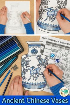 Learn art history while creating a Chinese vase inspired by the Ming Dynasty. Fill up your middle school classroom sub plan folder with no-prep art projects, lesson plans, and templates that are easy to implement. Great for arts integration, homeschooling Middle School Art Projects, Art School, Projects For Kids, Middle School Crafts, Cool Art Projects, School Projects, Art History Lessons, History Projects, Art Sub Lessons
