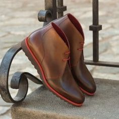 Handcrafted Custom Made Chukka Boots in Medium and Dark Brown Painted Calf Leather From Robert August.Create your own custom Chukka Boots . Custom Made Shoes, Custom Design Shoes, Mens Boots Fashion, Fashion Shoes For Men, Fashion Ideas, Men's Fashion, Fashion Tips, Stylish Boots, Unique Shoes