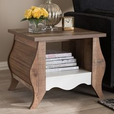 Country Cottage Oak End Table by Baxton Studio Oak End Tables, End Table Sets, End Tables With Storage, Deep Shelves, Drawer Dividers, Metal Drawers, Baxton Studio, Decorating Coffee Tables, Living Room Furniture
